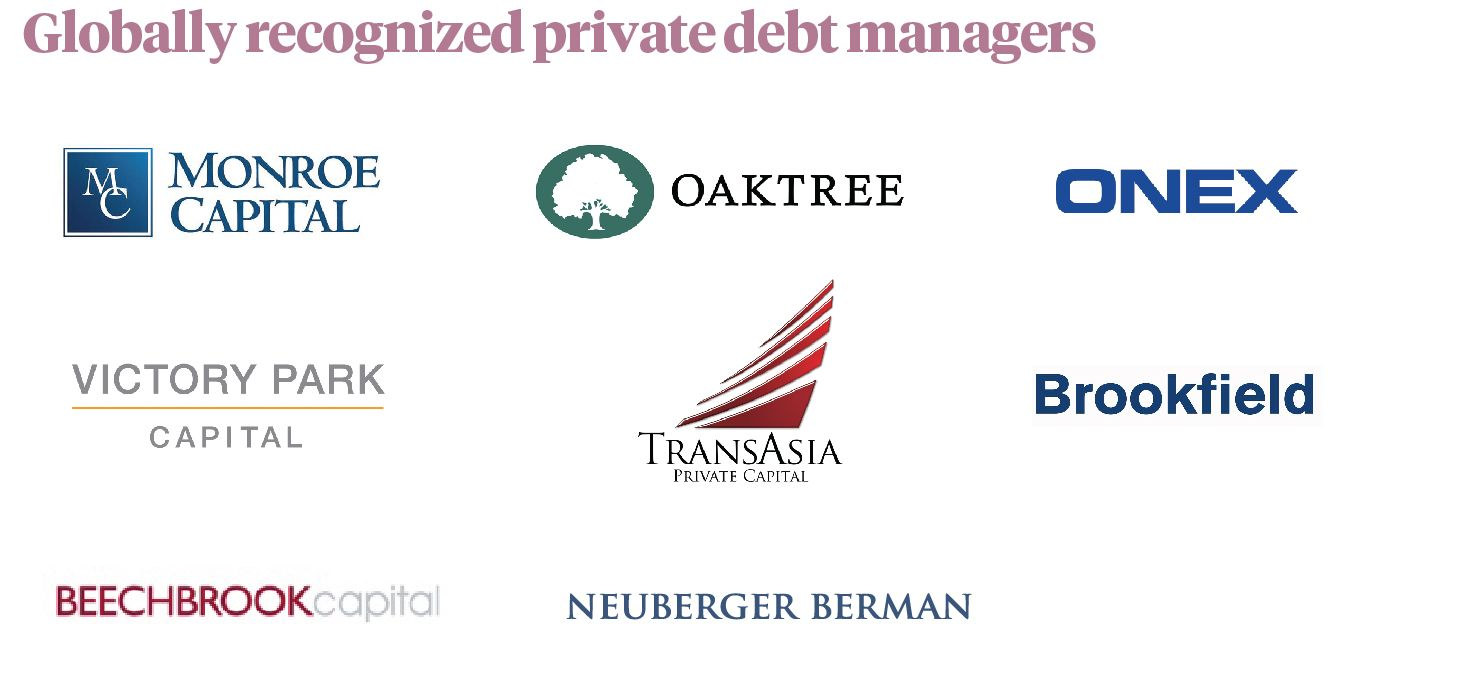 Globally recognized private debt managers. Monroe Capital, Oaktree, ONEX, Victory Park Capital, Trans asia private capital, Brookfield, Beechbrook capital, Neuberger Berman.