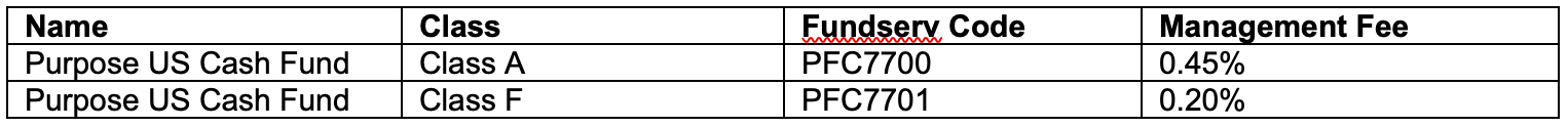 Purpose US Cash Fund Class A and F